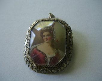 Victorian Miniature Portrait Brooch Pendant 800 Silver