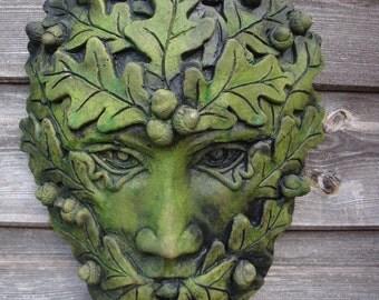 ACORN GREEN MAN wall plaque frost proof stone garden ornament
