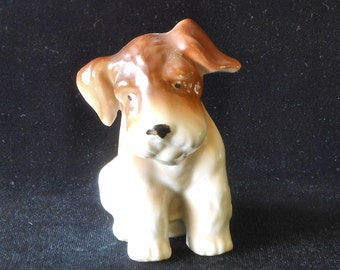 Terrier Puppy Porcelain Dog Figurine Made in Japan circa 1950s