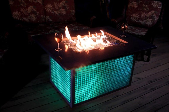 Color changing Gabian fire pit/fire table. by BESHAD on Etsy
