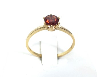 Gold Garnet Gemstone Engagement Ring