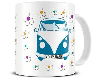 Personalized Flowery VW Campervan Coffee Mug - camper van gifts - birthday mug - custom mug MG369