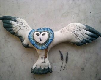 Blue Owl textile art doll soft sculpture folk art wall hanging