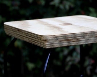 Plywood and steel stool, cafe stool, small stool, cafe furniture, small plywood sidetable, small plywood bedside table