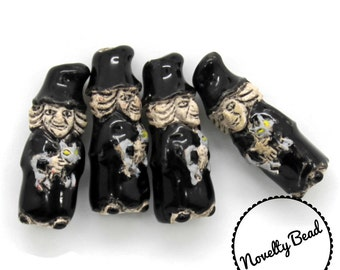 4 - Small - Wicked Witch - Halloween Beads - Fall Beads - Novelty Beads - Ceramic