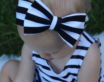 black and white striped knit bow headband