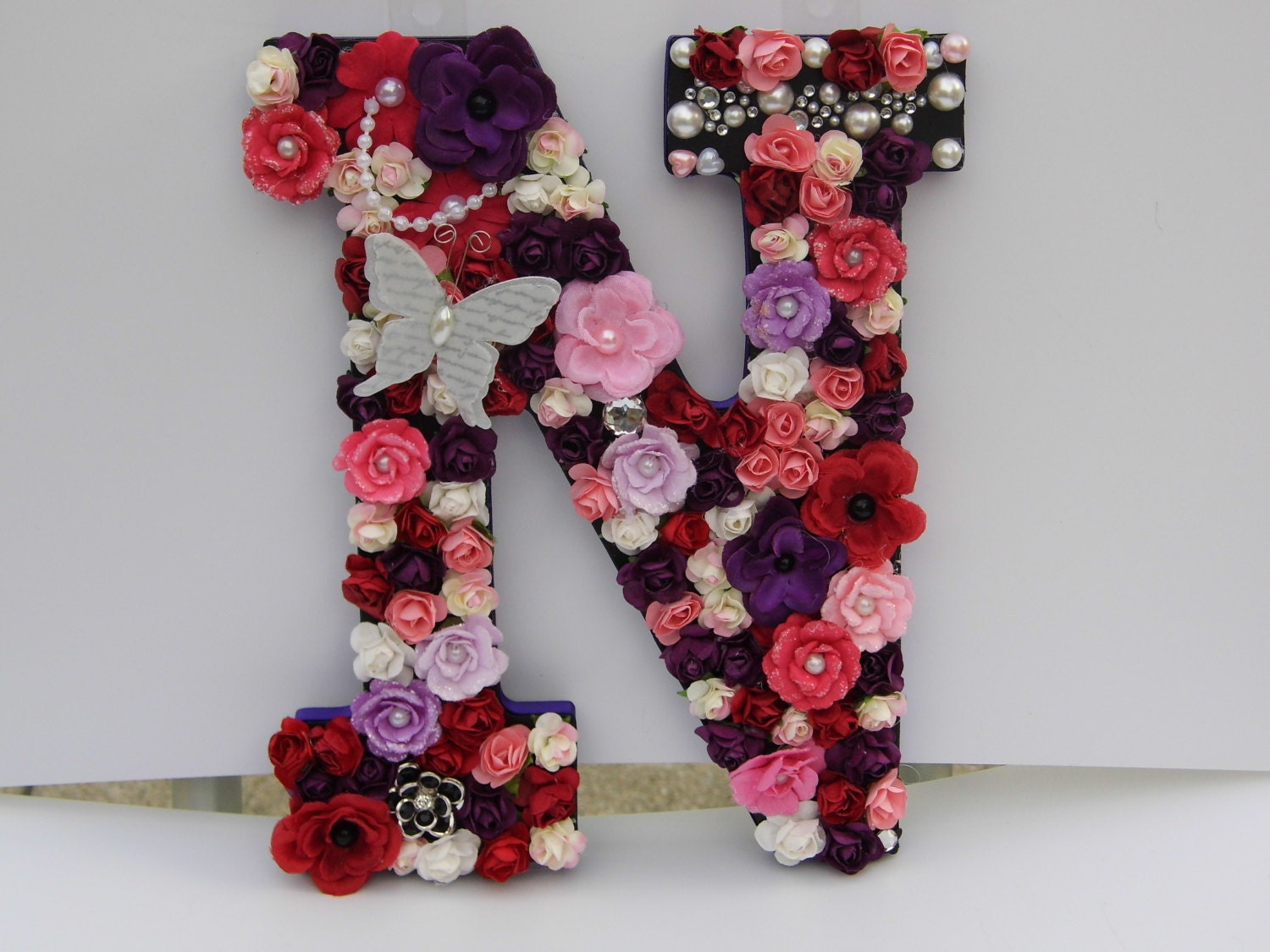 hand decorated floral letter initial monogram n