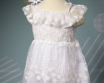 Princess White Lacy Dress with Beautiful Embroidery  Flowers