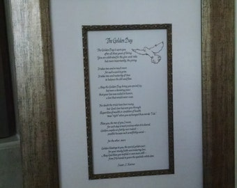 The Golden Day Matted/Framed Poem (50th Wedding Anniversary) - Registered Copyright