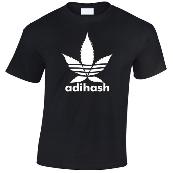 Adihash adidas parody T-Shirt. hash weed ganja dope funny shirt for guys and girls. Unisex adult tshirts for men and women