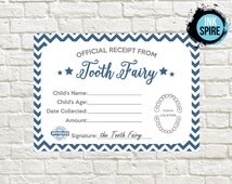 INSTANT DOWNLOAD / Tooth Fairy Receipt Printable / Tooth Fairy Letter / Lost Tooth Receipt Printable