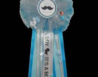Little Man Mustache Baby Shower. Honor Ribbon Corsage