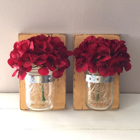 Wall Sconces That Hold Flowers: Set Of 2 Mason Jar Wall Sconces Rustic Reclaimed Pallet Barn