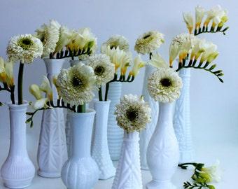 Set of 10 Vintage Milk Glass Bud Vases