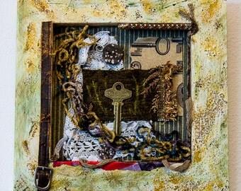 Unlock - Mixed Media Collage Wall Hanging