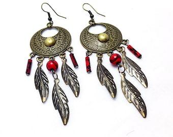 Leaf Chandelier Earrings,Leaf Earrings,Chandelier Earrings,red Earrings,Round Chandelier Earrings,Round Brass Earrings, Boho Earrings,