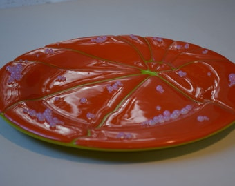 "Fused Glass ""Pumpkin"" Platter Orange/Spring Green"