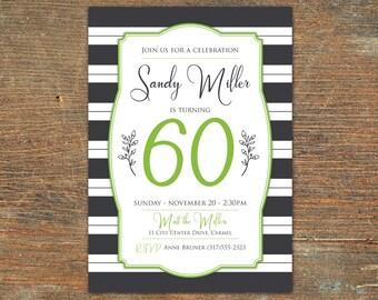 Striped Birthday Invitation, Customizable, Printable