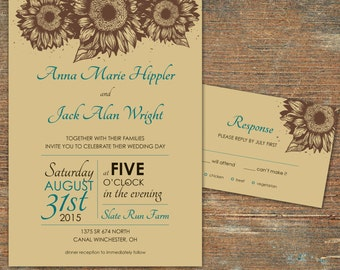 Sunflower Country Wedding Invitation - customizable, printable