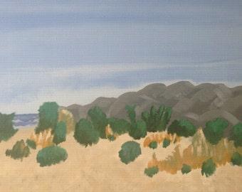 Bombay Beach - Acrylic Painting on Canvas Art 16x20 - Salton Sea California - Mountains, Lake, Desert, Plants, Landscape