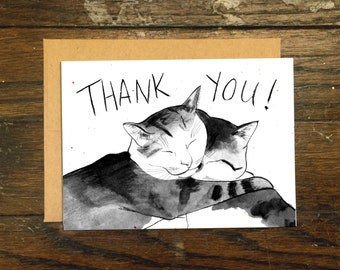 Cats Hugging Thank You Card