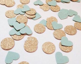 Gold and mint heart confetti . Wedding confetti . Bridal shower confetti 200CT