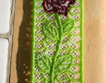 Lace Bookmark - Burgandy Rose