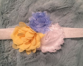 Yellow, blue & white flowers on glitter white headband