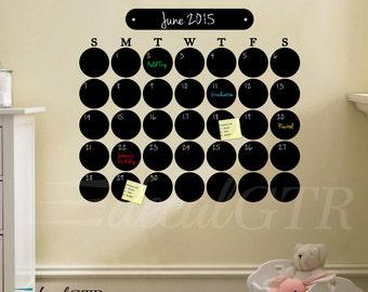26x30 Chalkboard Monthly Calendar Decal - Chalk Board Circles Dots Wall Month Daily Adehsive Vinyl Wall Calendar - Black Board - C013
