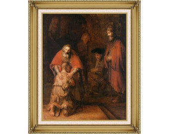 Christian Art Return of the Prodigal Son Rembrandt van Rijn Framed Canvas Print Painting Reproduction - Sizes Small to Large - M01913-613