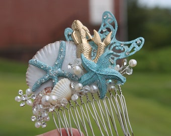 Mermaid and Starfish Bridal Hair Comb / Hair Accessories / Turquoise Tropical Hair Comb
