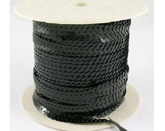 6mm sequin trim, Black sequin trim strand, 5yds