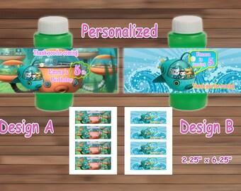 OCTONAUTS Birthday Bubble Labels, Personalized, Printable PDF