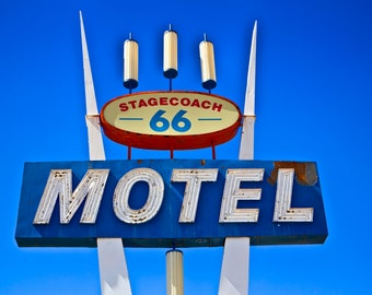 Route 66 Stagecoach Motel Neon Sign Retro Home Decor Vintage Home Decor Route 66 Art Motel Sign Neon Sign Photography Vintage Neon Sign Art