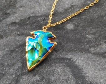 Titanium Arrowhead Necklace - Arrow Necklace, Blue Arrowhead, Gold Filled Necklace, Dagger Arrowhead, Electric Blue, Layering Necklace