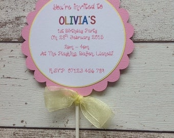 HANDMADE PERSONALISED Lollipop/Popsicle style party invitation