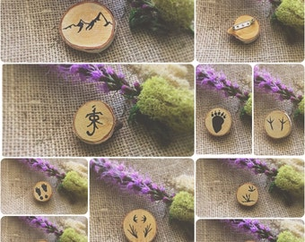 Nature Silhouette Animal Print Wooden Pin