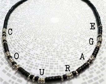 Courage Morse Code Necklace / Black / Personalised / Customised / Bespoke / Secret / Hidden Message / Semiprecious / Gemstone / Magnesite
