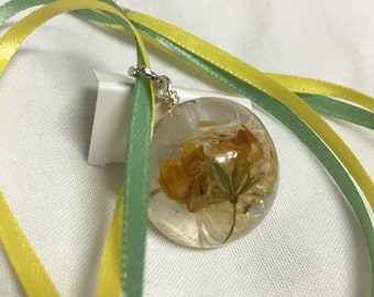 Resin hand-cast wildflower necklace