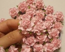 "25 Paper Flowers (Size 1"") Mulberry Paper Craft flower, Paper flower craft wedding, Wedding, Bouquets and Crafts, Light pink, Paper Roses."