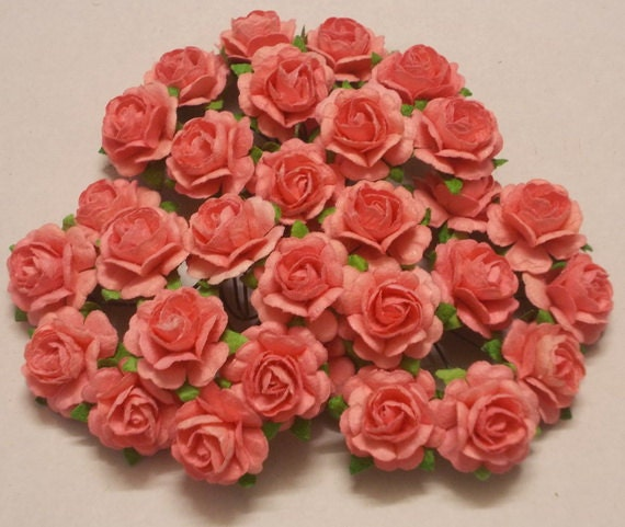 30 Paper Flowers Size 075 Mulberry Craft Flower Mini Roses Wedding Events Soft Coral From