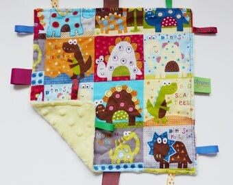 Dinosaur Taggy blanket for baby boys soft toy minky fabric tags comforter security blanket perfect gift yellow blue