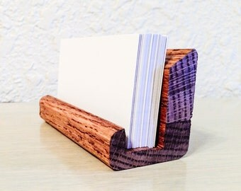 Business Card Holder - Wooden Crafted by Hand - Custom Made in Your Choice of Stain Color