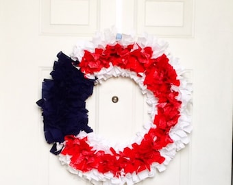 Patriotic- Fourth of July and Memorial Day Fabric Wreath
