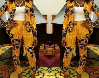Yellow Print Blazer and High Waist Trouser// Yellow Blazer, High Waist Trouser, Ankara Blazer and Trouser, African Print, African Party