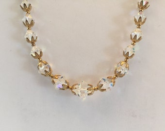Clear Aurora Borealis Crystal And Gold Beaded Necklace And Earrings Set