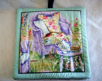 Set of 2 Vintage Looking Lavender Chair Potholders