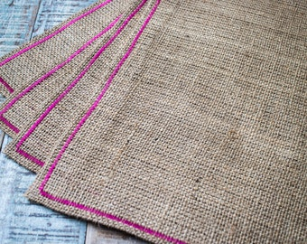 Hessian placemats with pink border - set of 4