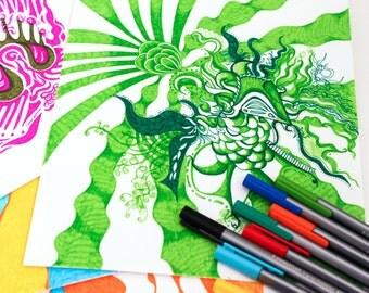 Surreal Adult Coloring Books, INSTANT Digital Download, 12 pages - BLACK Outlines, Vol. 3