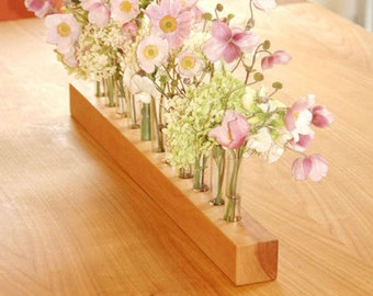 Vase aus Holz und Reagenzgläsern, Vase für die Hochzeitsfeier,  - 2 -